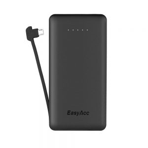 EasyAcc® 6000mAh Ultra-Slim Power Bank (eingebautes Kabel)