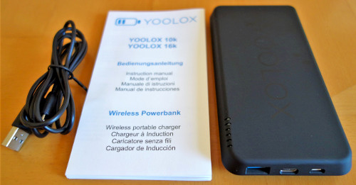 Lieferumfang der YOOLOX Wireless 10k Powerbank